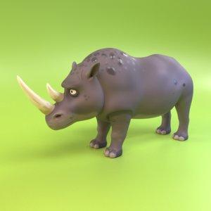 3D cartoon rhinoceros