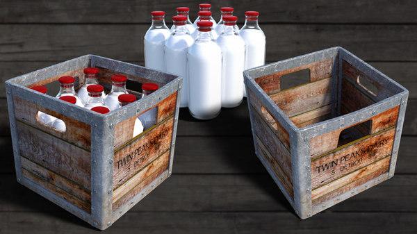 3D vintage milk