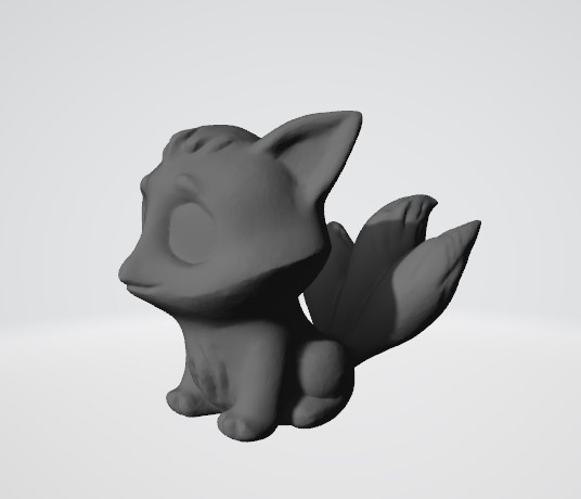 3D three-tailed fox kitsune