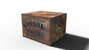 3D vintage box wooden matches model