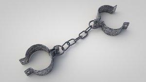 3D old metal shackles model