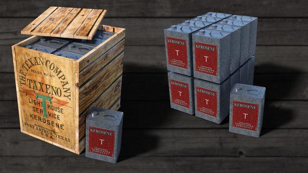 vintage kerosene cans 3D model