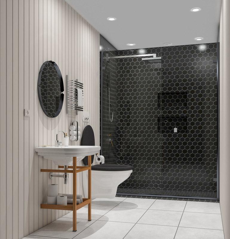 bath bathroom small 3D model
