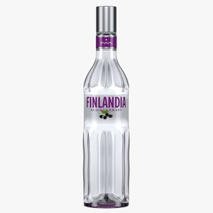 finlandia blackcurrant vodka bottle 3D model