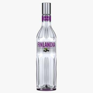 finlandia blackcurrant vodka bottle 3D model