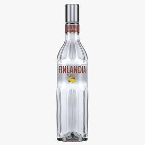 3D finlandia mango vodka bottle model