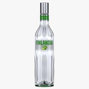 finlandia lime vodka bottle 3D model