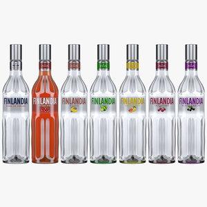 finlandia vodka bottles flavours 3D