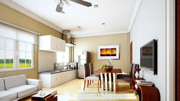 3D interior set living room