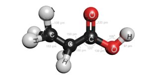 propionic acid molecule ch3ch2cooh 3D model