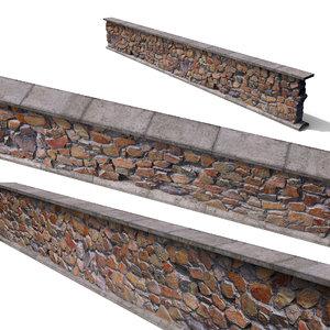 3D model granite wall