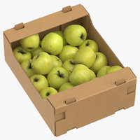 Cardboard Box 03 With Golden Delicious Apple Full