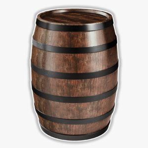 obj wooden wine barrel