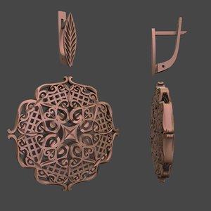 jewellery earrings patterns 3D
