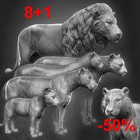 3D lioness zbrush sculpture model