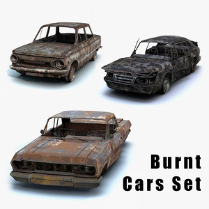 set burnt cars 3D model