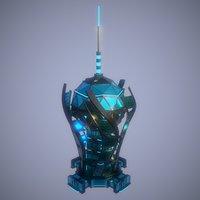 3D sci-fi style building model