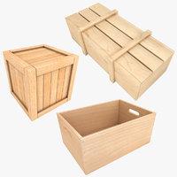 realistic wooden box 3D model