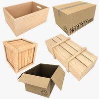3D realistic wooden box cardboard model