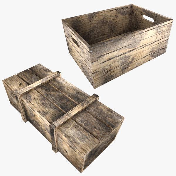 realistic wooden color box 3 3D model