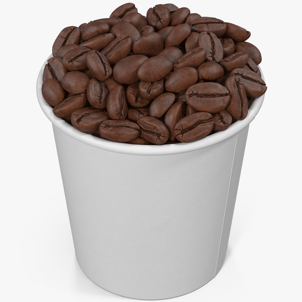 3D model coffee beans roasted cup