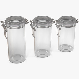 glass jars airtight lid 3D
