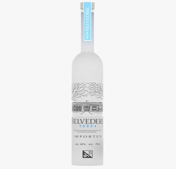 realistic belvedere vodka bottle 3D