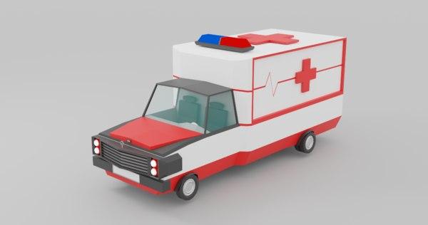 3D model ambulance polys