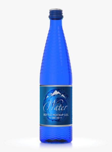 3D blue glass water bottle
