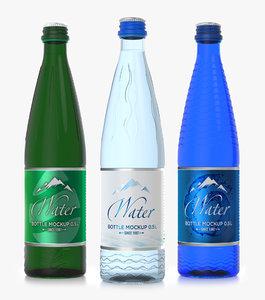 glass water bottles 50 3D model