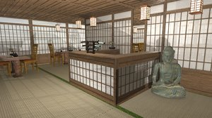 japanese cafe modular interior room model