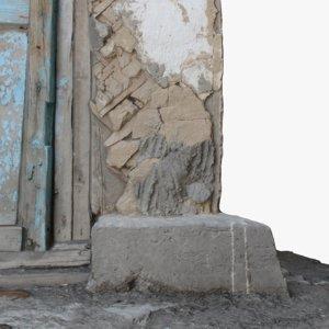 3D old wall corner