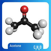 c3h6o molecule acetone 3D model