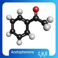 3D c8h8o molecule acetophenone
