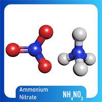 3D nh4no3 molecule ammonium nitrate model