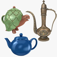 3D teapot turtle antique model