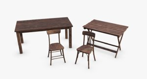 wwii bunker tables chairs 3D model