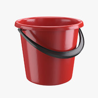 3D realistic plastic bucket red