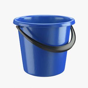 3D realistic plastic bucket blue