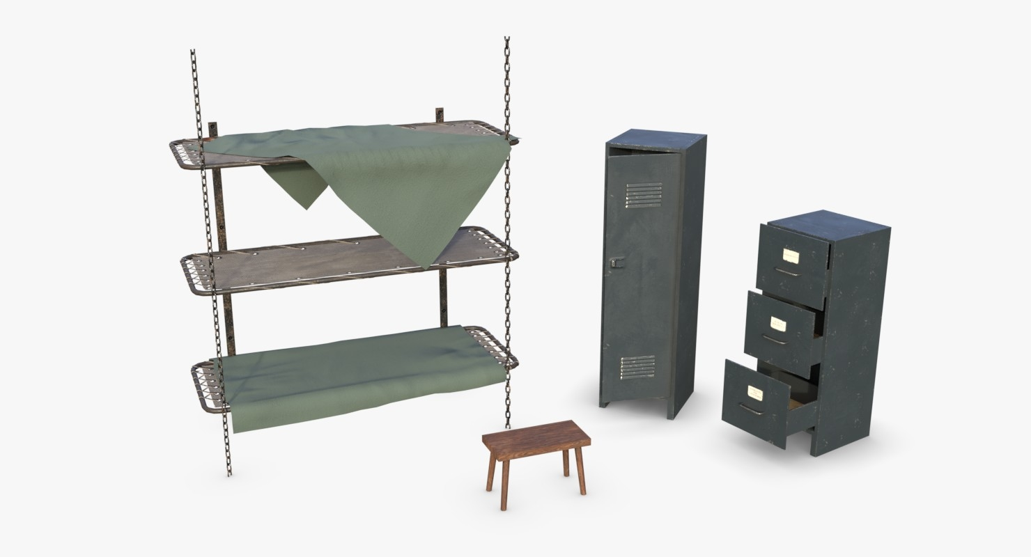 wwii bunker beds cabinets 3D model