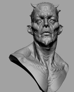 3D creature bust model