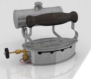 3D vintage gas iron circa
