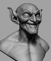 3D green goblin bust