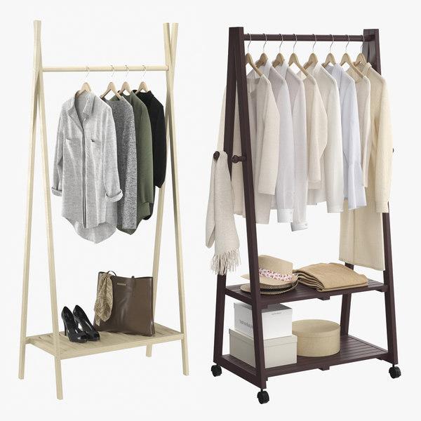 3D realistic clothes rack model