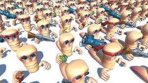 games worm cartoon character model