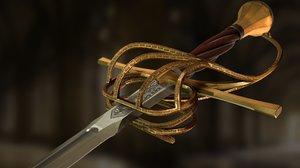 3D weapon rapier model