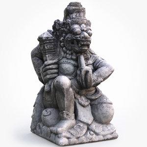 3D balinese guardian statue