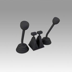 3D control levers model