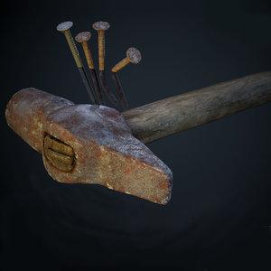 old hammer nails 3D model