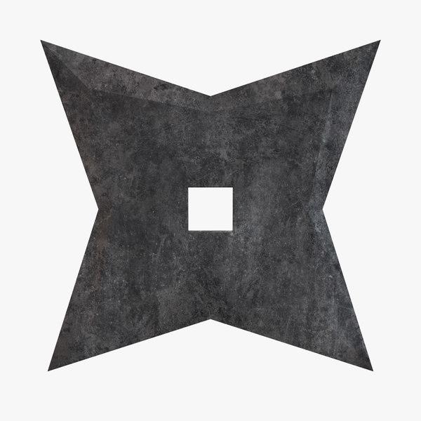 3D star shuriken throwing